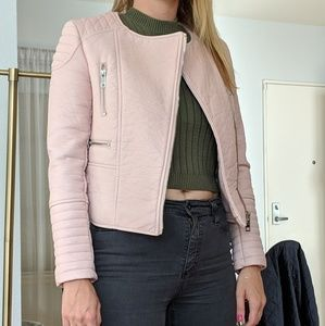 Zara faux pink leather Moto jacket Trafuluc - NWOT